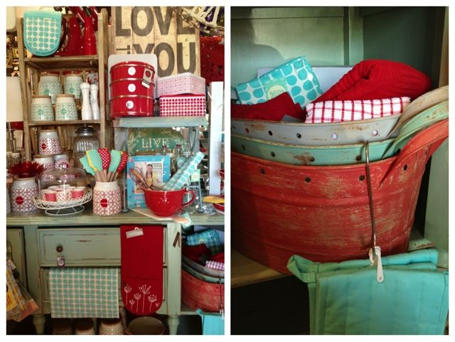Turquoise & Red !!! My Kitchen Colors !!! Farmhouse Chic Kitchen