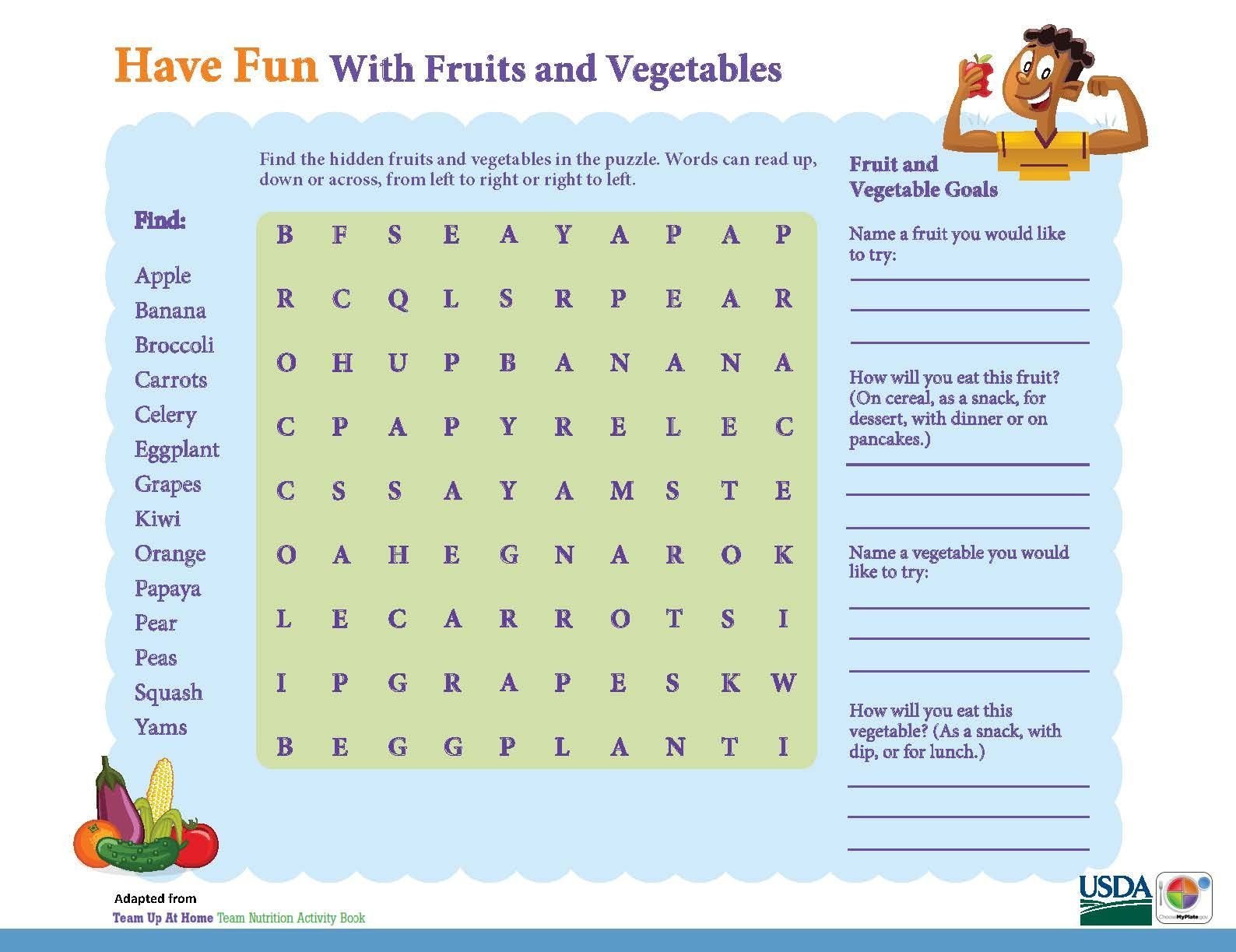 Word Search Have Fun With Fruits Amp Vegetables Kids