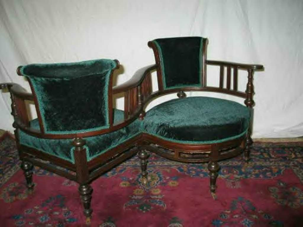 Victorian living room eolo victorian furniture - Victorian Courtship Tool The Love Seat Shaped Conveniently In An S So