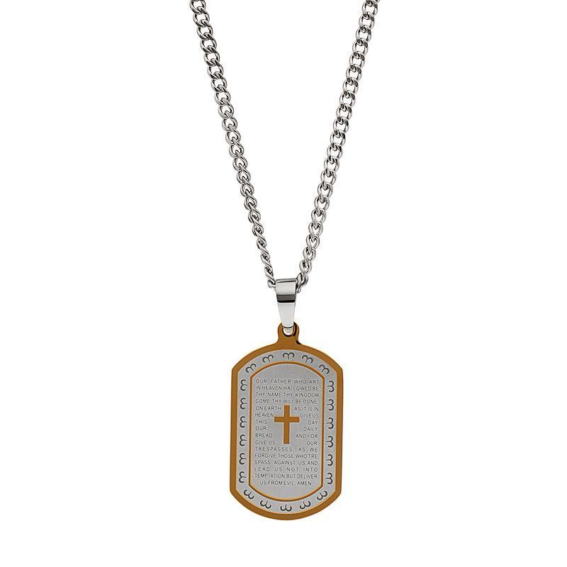 "Men's Two Tone Stainless Steel ""The Lord's Prayer"" Dog Tag Necklace, Yellow"
