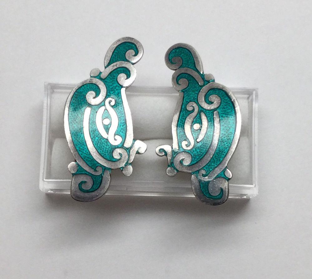 Sterling Silver and Enamel Early Mexican Earrings Screw Back Earrings