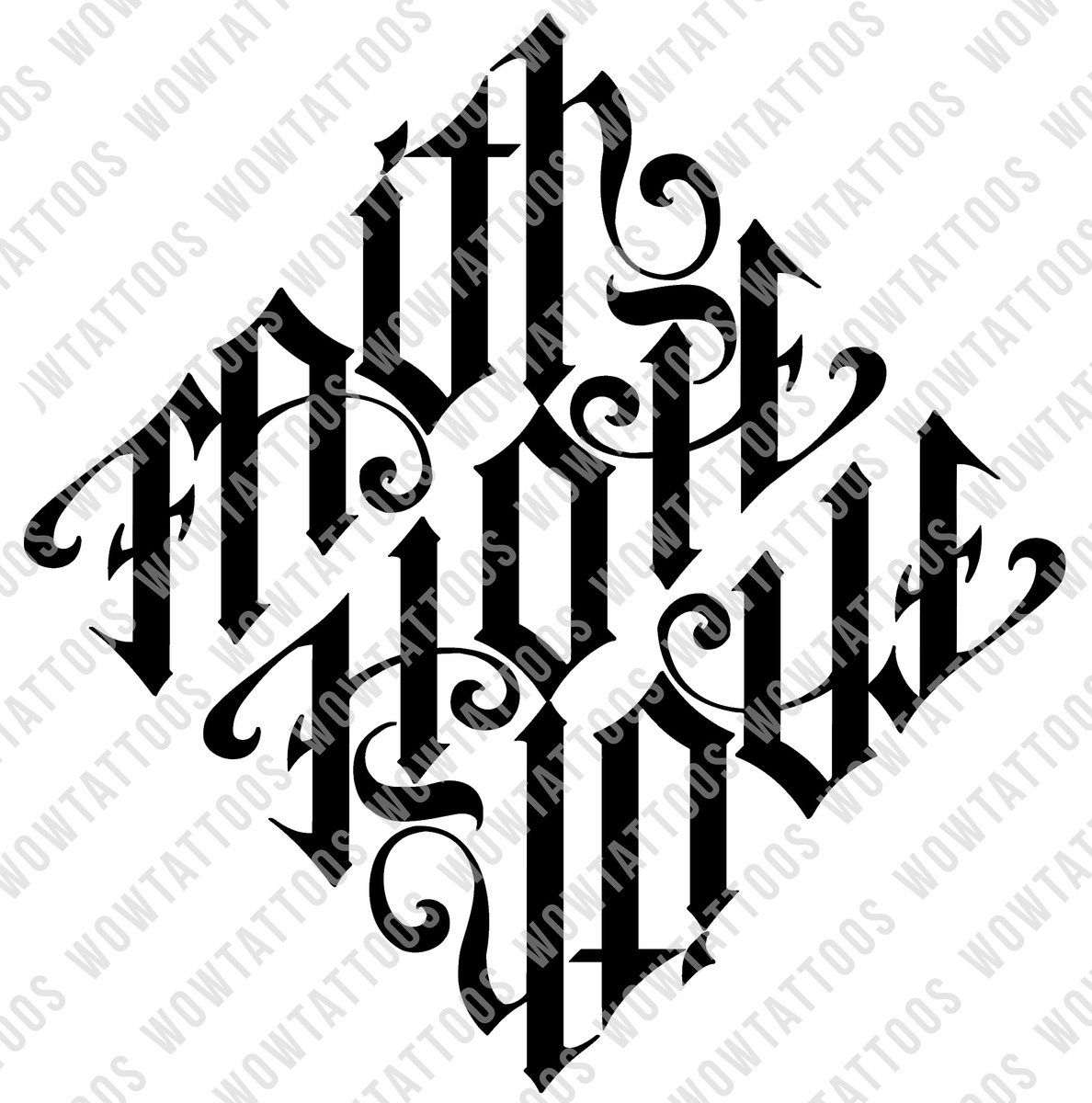 Faith Hope Love Diamond Ambigram Tattoo Instant Download