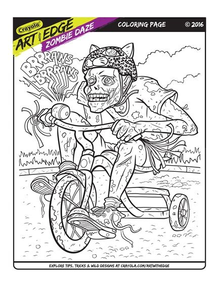 Art With Edge Zombie Daze Trial Page coloring Pinterest - new giant coloring pages crayola