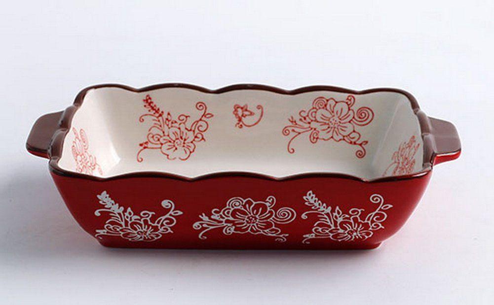 Ceramic Bakeware Kitchen Cookware Cupcake Pans Baking Sheet Red
