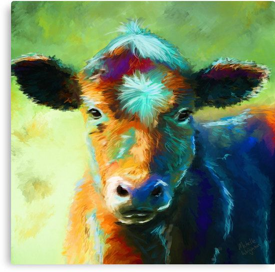 Bright Bold And Colourful Abstract Painting Of A Cute Baby Cow Hand Painted Digitally Using A Wacom Tablet And Corel Cow Painting Animal Paintings Cow Art