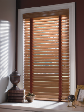 Wood Blinds With Chocolate Cloth Tape