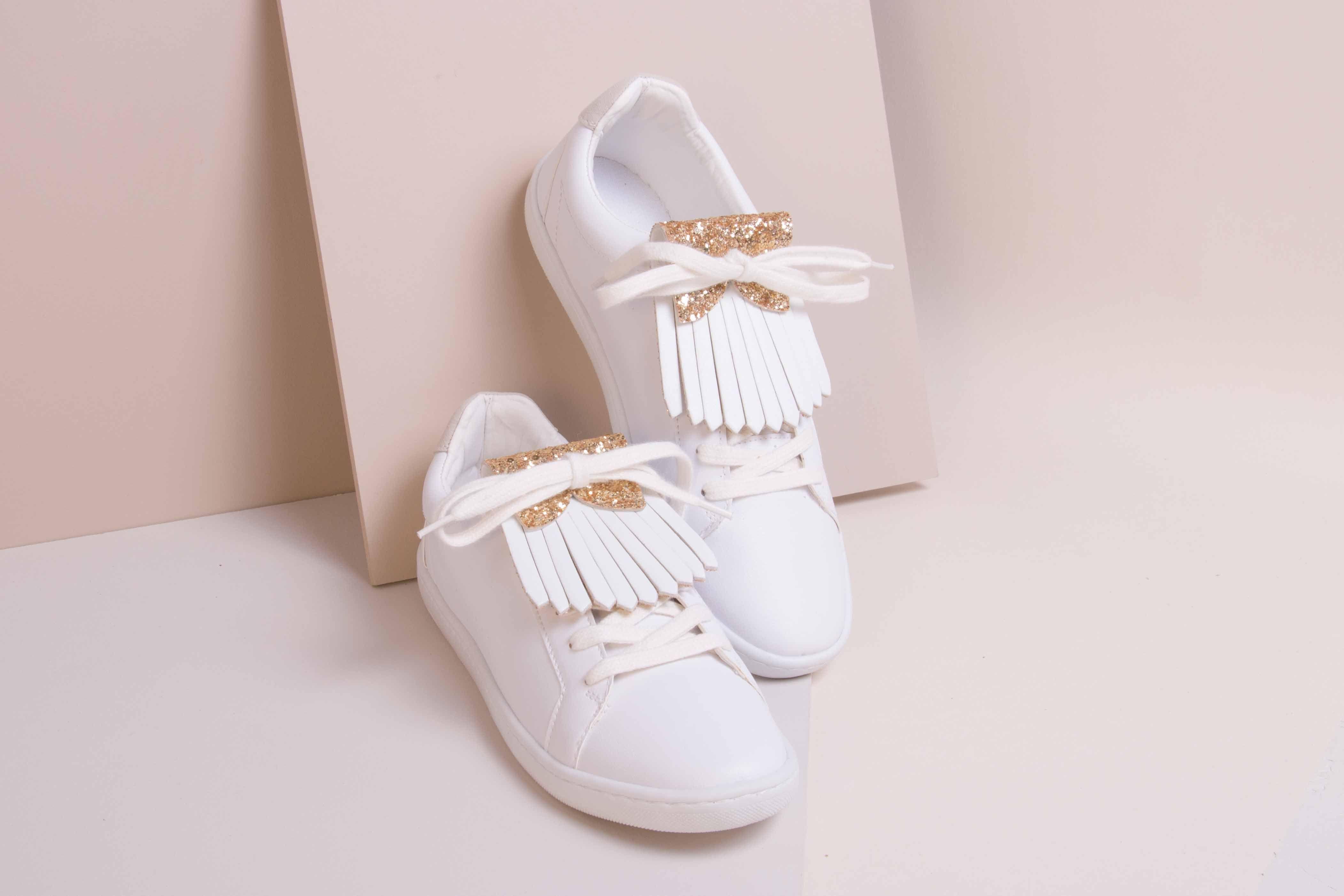 new products 9df33 5fc1f Franginettes cuir - Aurélie Chadaine réversibles glitter or blanc