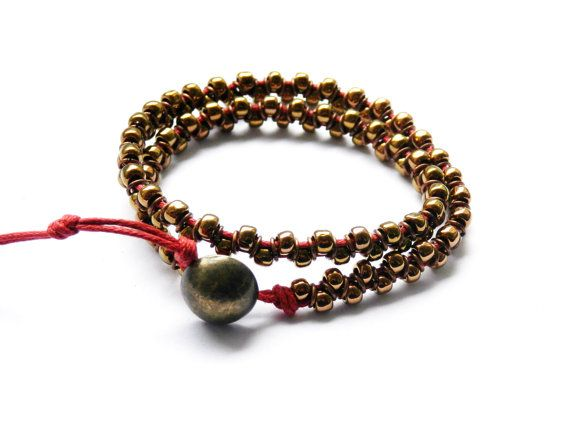 Double Wrap Ring Bracelet red&bronze boho special by MUSAjewels
