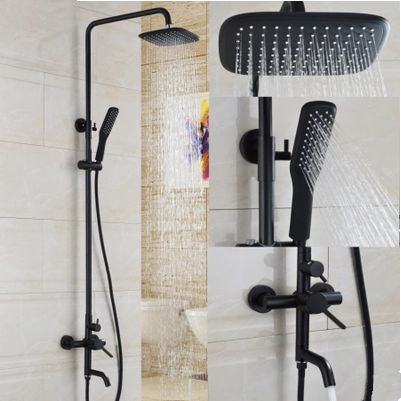 Antique Matte Balck Finished Bathroom Brass Mixer Shower Tap Set ...