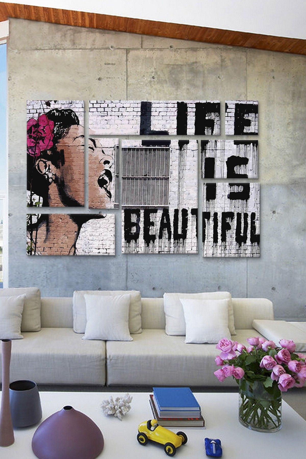 living room art prints%0A Life Is Beautiful   Panel Sectional Wall Art on  HauteLook