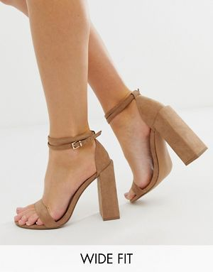 7f618619d9f ASOS DESIGN Wide Fit Highlight barely there block heeled sandals in beige