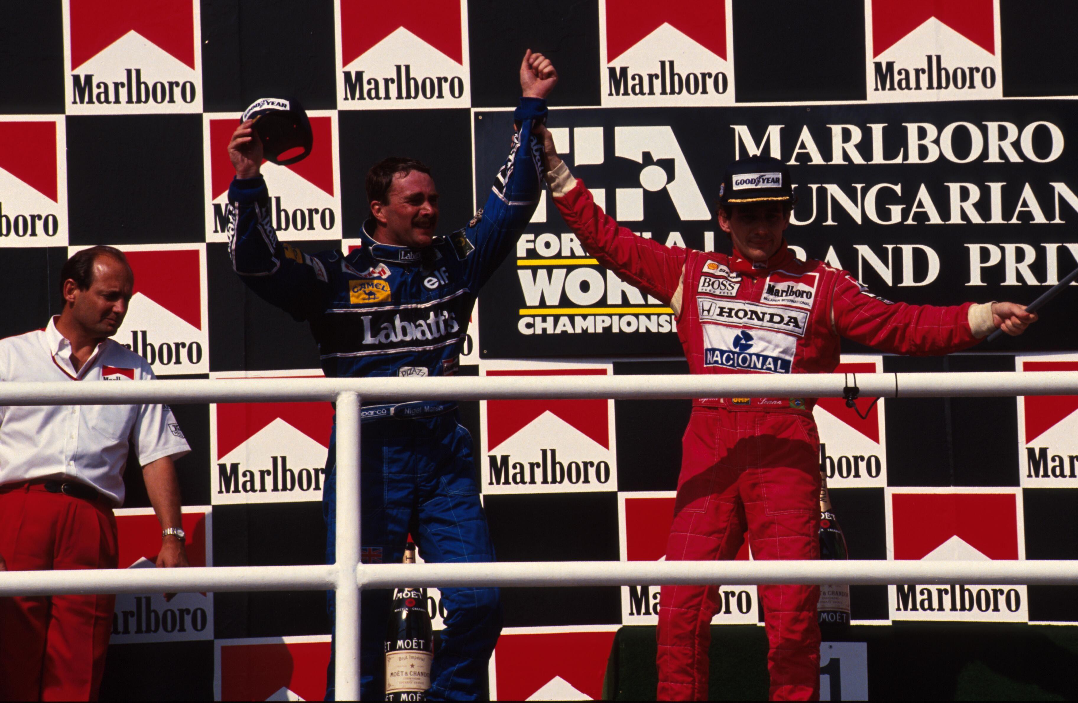 Resultado de imagem para Nigel Mansell hungarian GP 1992 podium