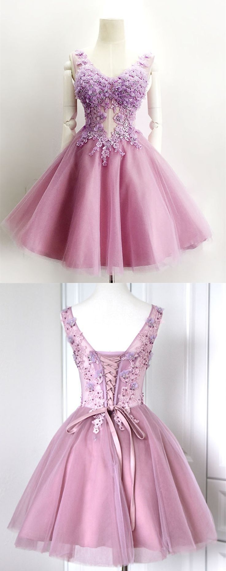 Ball gown homecoming dressvneck short homecoming gownpurple prom