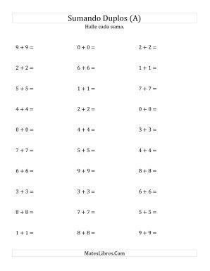 Sumar Duplos Pequeño Todas Hojas De Ejercicios De Adición Resta De Numeros Enteros Hoja De Trabajo Para Matemáticas Dobles