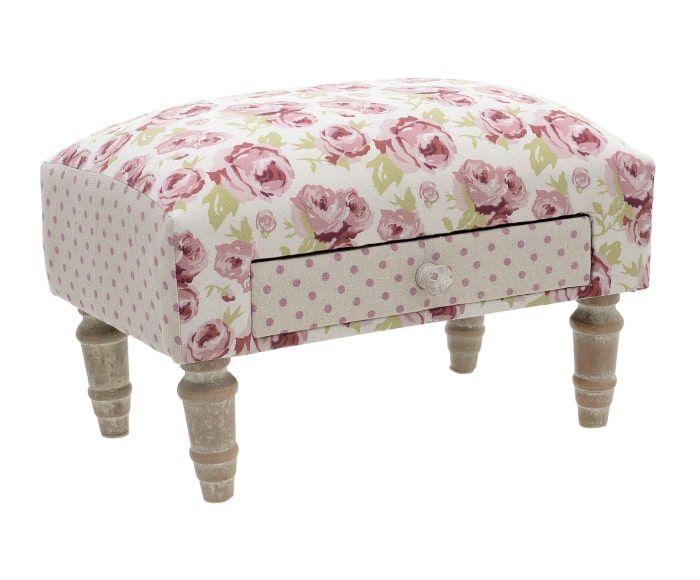 Reposapiés en madera de abedul Flowers, blanco y rosa - 41x29 cm ...