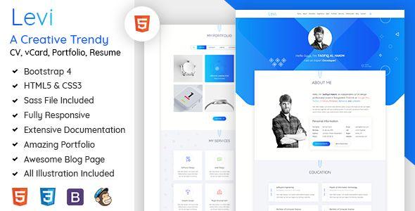 Levi  Vcard  Cv  Resume  Portfolio Bootstrap   Material