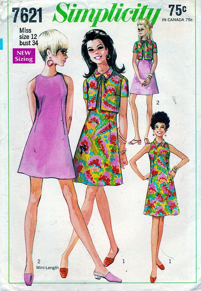 Simplicity Vintage Sewing Pattern 7621 ©1968 Misses\' Mini Dress and ...
