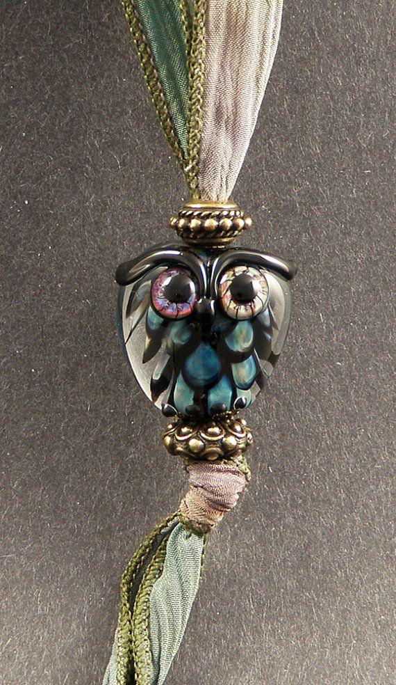 Hand Made Glass Lampwork Bead Owl Pendant Set от PeggySudzLampwork,