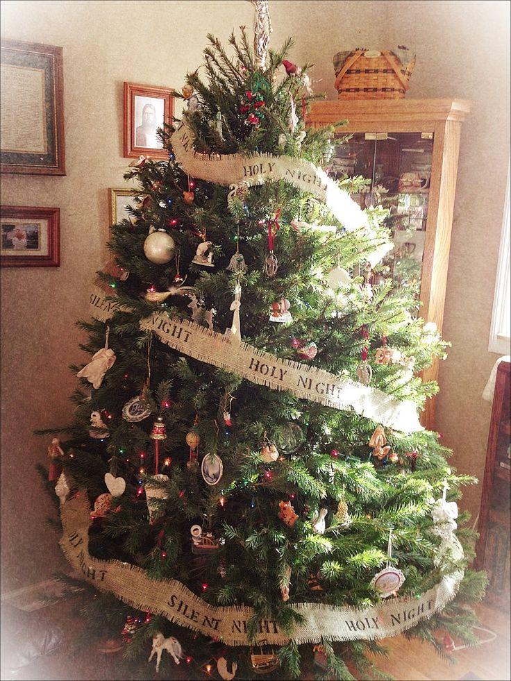 burlap ribbon on Christmas tree Burlap