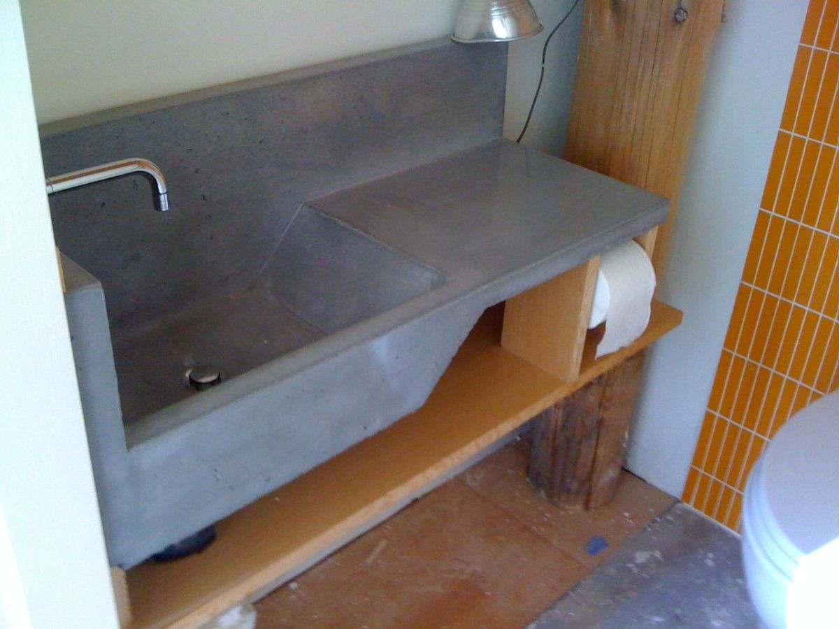 This Concrete Sink Has A Large Basin. LOVE IT.