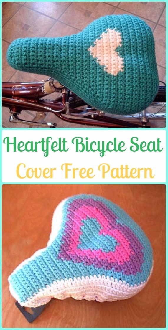 Crochet Heartfelt Bicycle Seat Cover Free Patterns - Crochet Bicycle ...