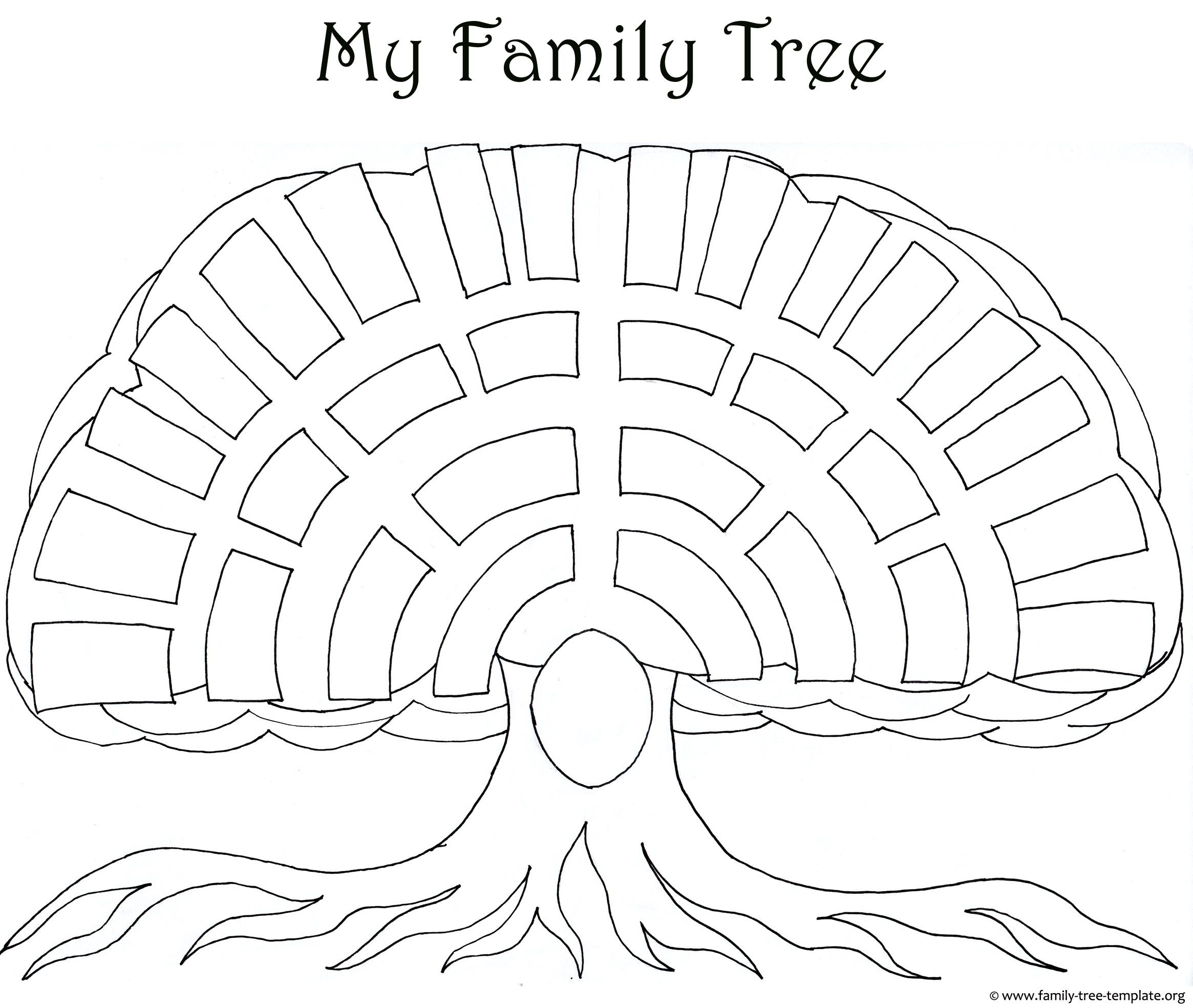 Big Oak Family Tree Template As A Coloring Page For Kids And Their