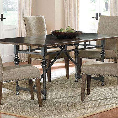 showcasing a metal base and turned legs this elegant table is a rh pinterest com