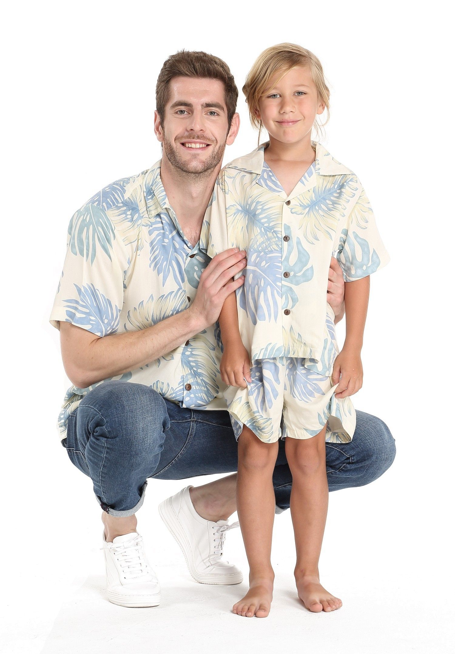 84a4e735 Father Son Matching Men Shirt and Boy Shirt in Palm Leaf Cream in ...