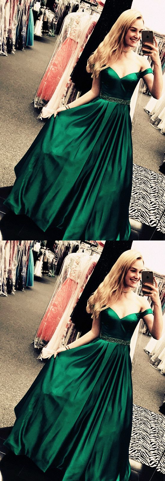 Dark green long satin vneck evening dresses offtheshoulder prom