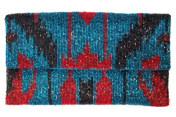 Blue and Red Beaded Clutch