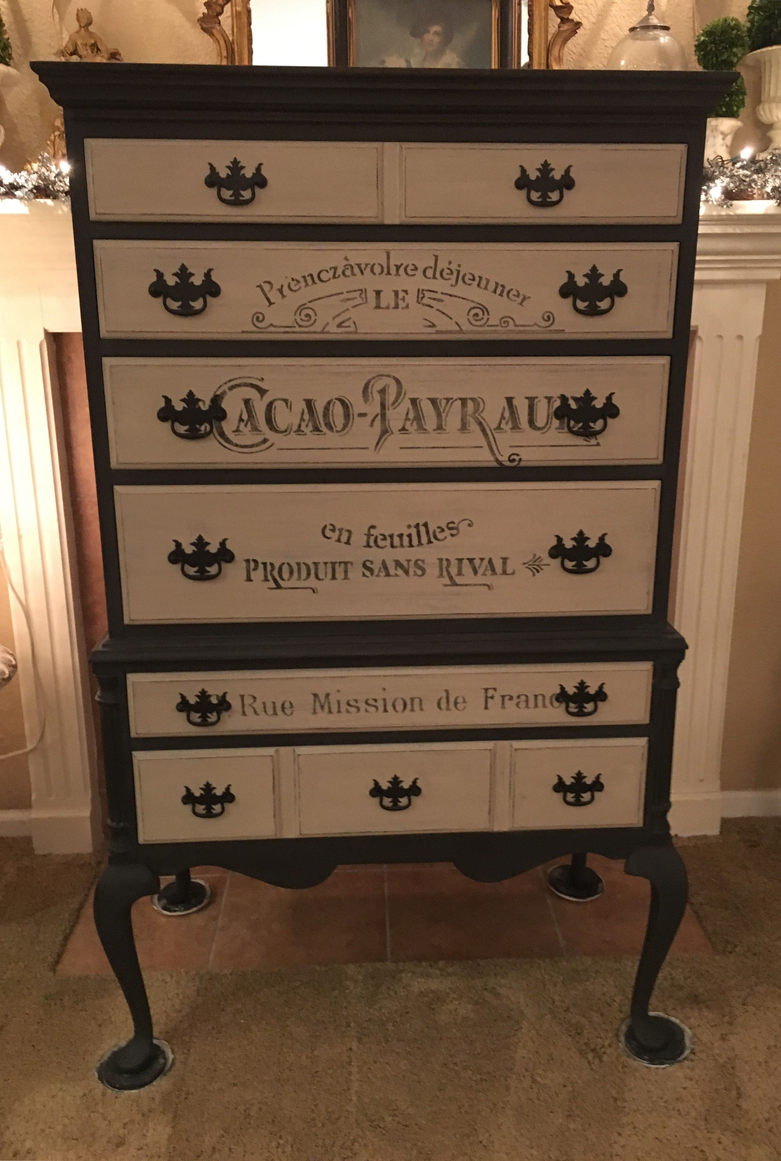 6 drawer chest after hand painted with heirloom traditions black rh pinterest com