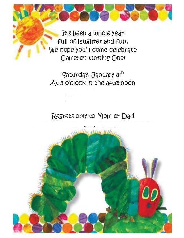 Hungry Caterpillar 1st Birthday Invitation All About My Babies