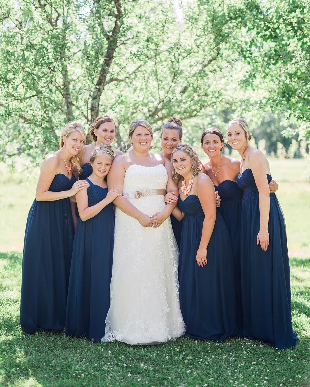 fall bridal party pictures%0A Stunning  DBMaids in long strapless blue bridesmaid dresses