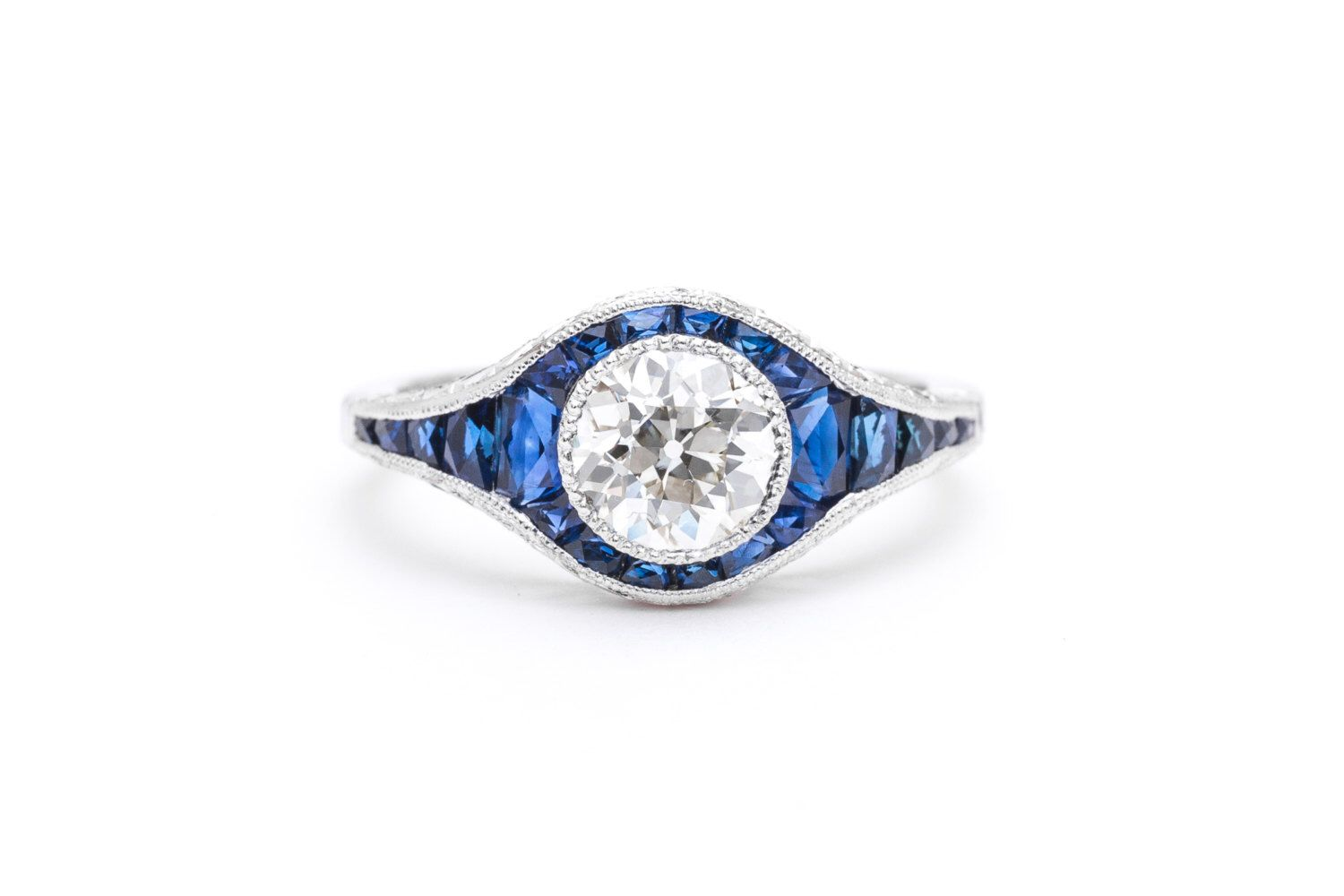 Glorious Art Deco Diamond & Sapphire Engagement Ring in Platinum by BeaconHillJewelers on Etsy https://www.etsy.com/listing/492743204/glorious-art-deco-diamond-sapphire