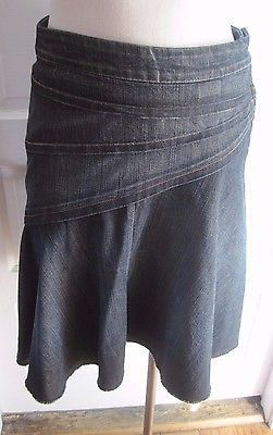 7 for all mankind Denim Blue Jean Fit & Flare Skirt Womens 27 Seven Assymetrical