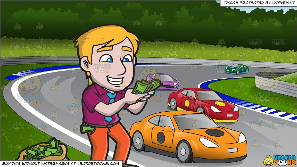 An Excited Man Counting His Money and Car Race Track