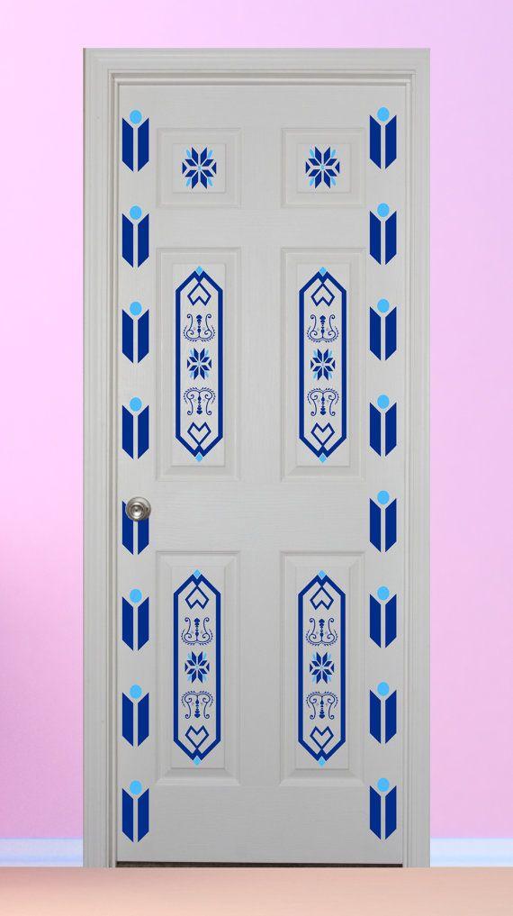 Elsa style door decal sticker princess girl   by pondicherryvinyl also decor room loves pinterest rh