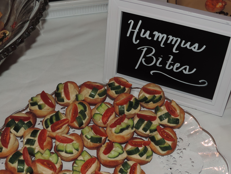 unique bridal shower appetizers%0A   Hummus Bites   Bridal Shower Chalkboard Food Sign  eatpinkandbemarried