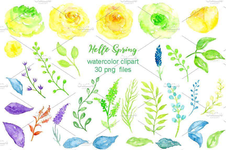 watercolor clipart hello spring clipart watercolor illustrations rh pinterest com