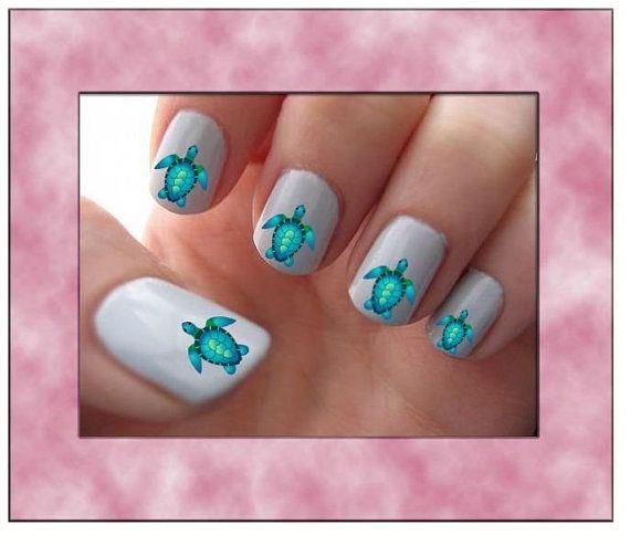 Blue Sea Turtle Nail Art Water Slide Transfers Ocean Nail Stickers