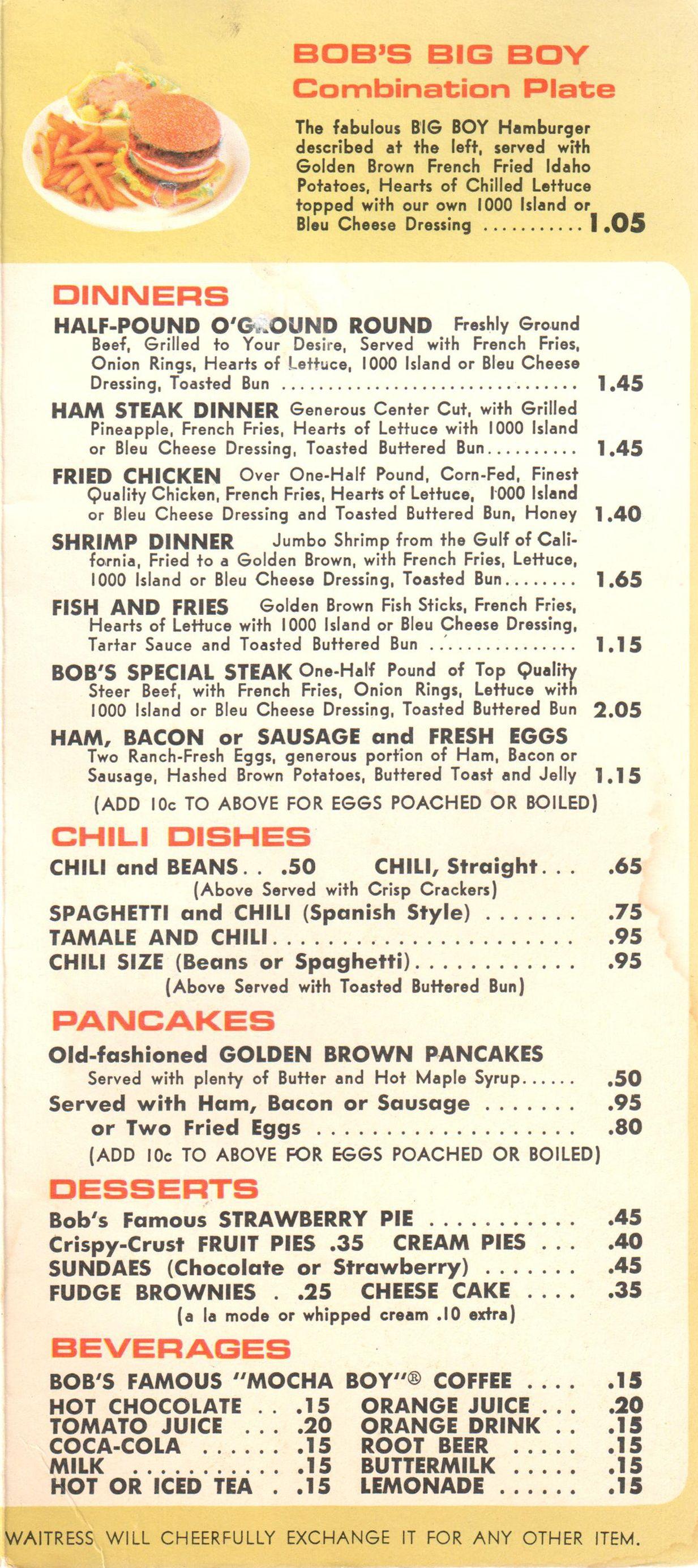 1967 Bob S Big Boy Menu Page 2 Www Bobs Net Vintage Menu Diner Menu Big Boy Menu