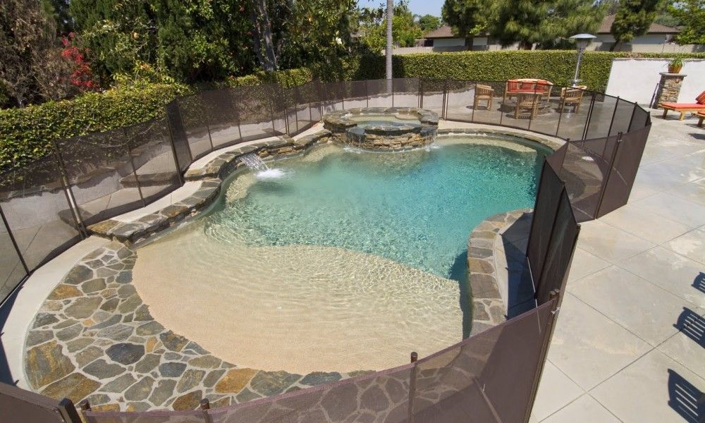 Beach Entry Pool Pros And Cons Beach Entry Pool Custom Swimming Pool Swimming Pools Backyard