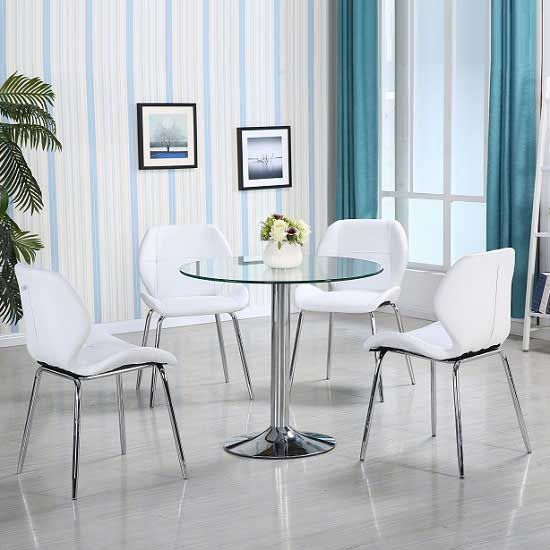 Attirant Dante Glass Dining Table In Clear With 4 White Darcy Chairs