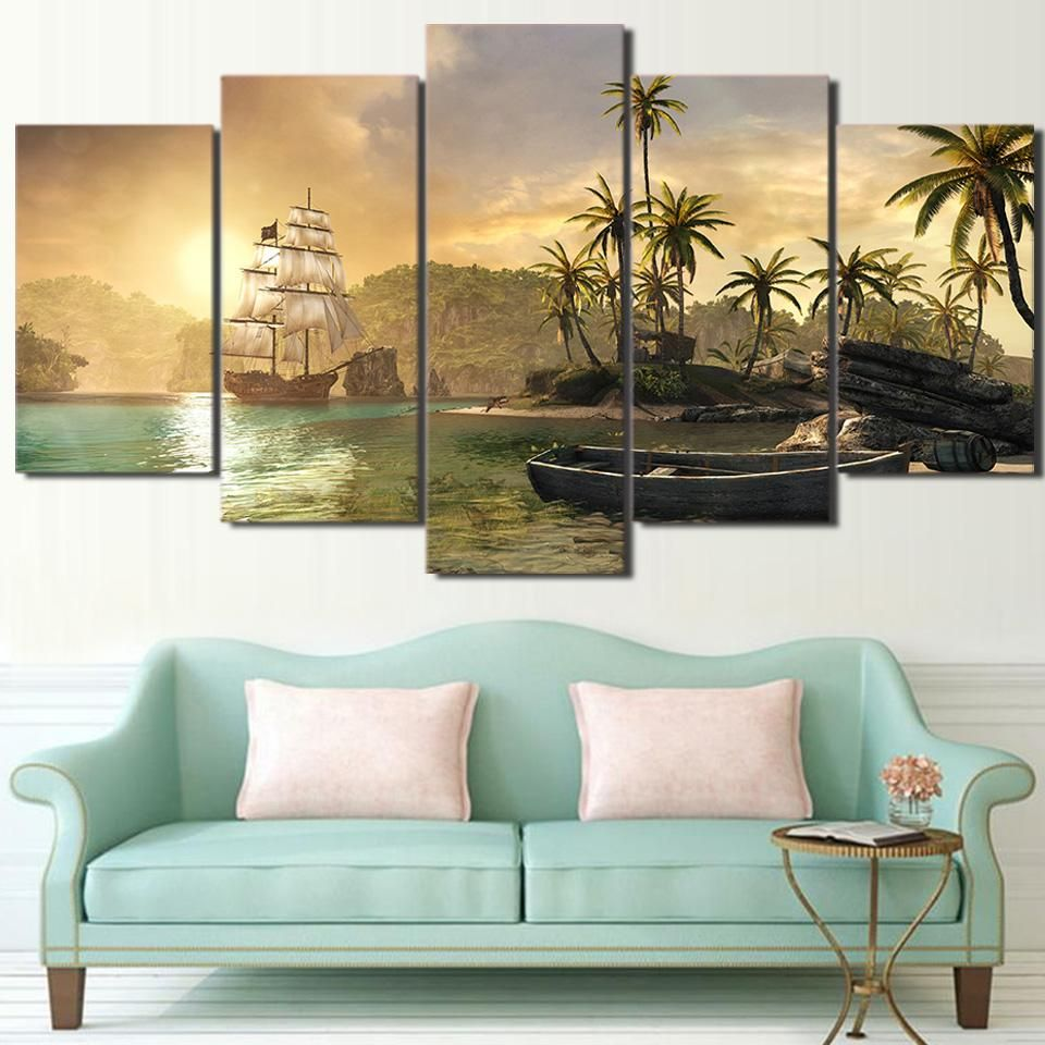 5 panel ship row boat and island palm tree sunset mountain wall art canvas panel print