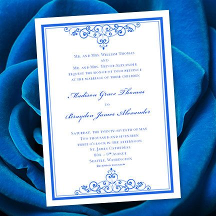 Royal Blue Wedding Invitation Template Editable Microsoft Word