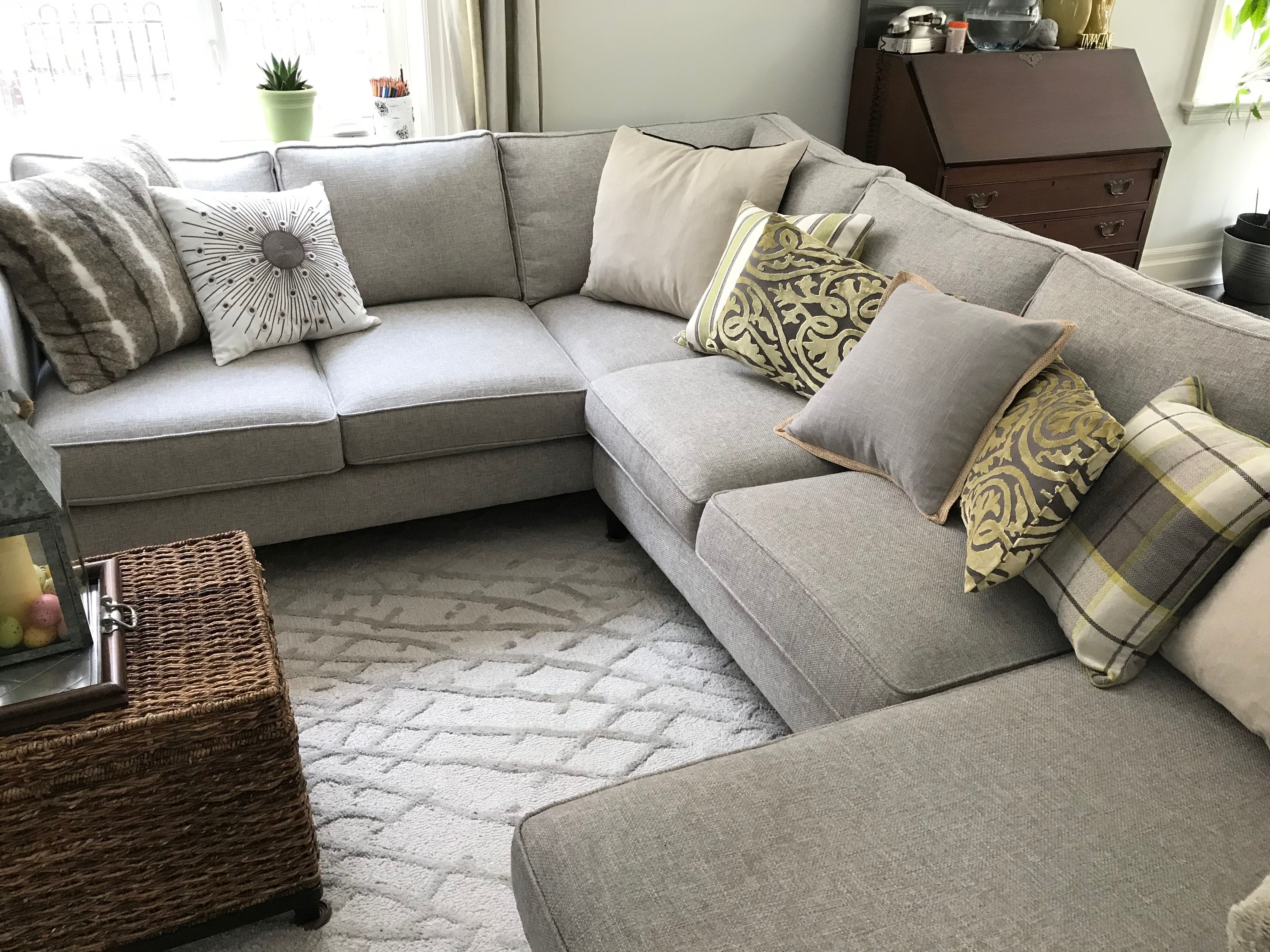 Grey Sectional Sofa With Light Green Accents In Family Room Furniture Design Living Room Gray Sectional Living Room Family Living Rooms