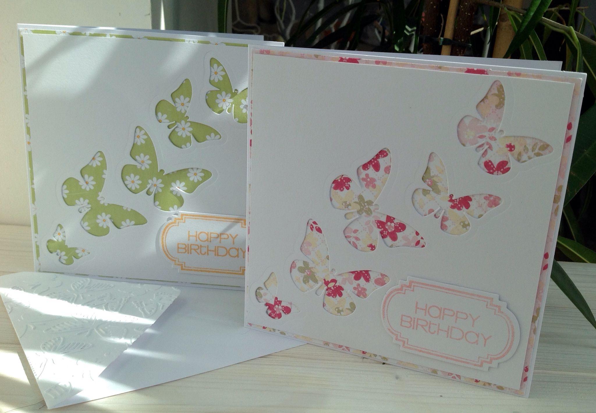Butterfly cards. Happy Birthday. www.purplepawcrafts.com