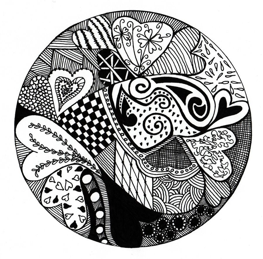 heart zentangle coloring pages - photo#31
