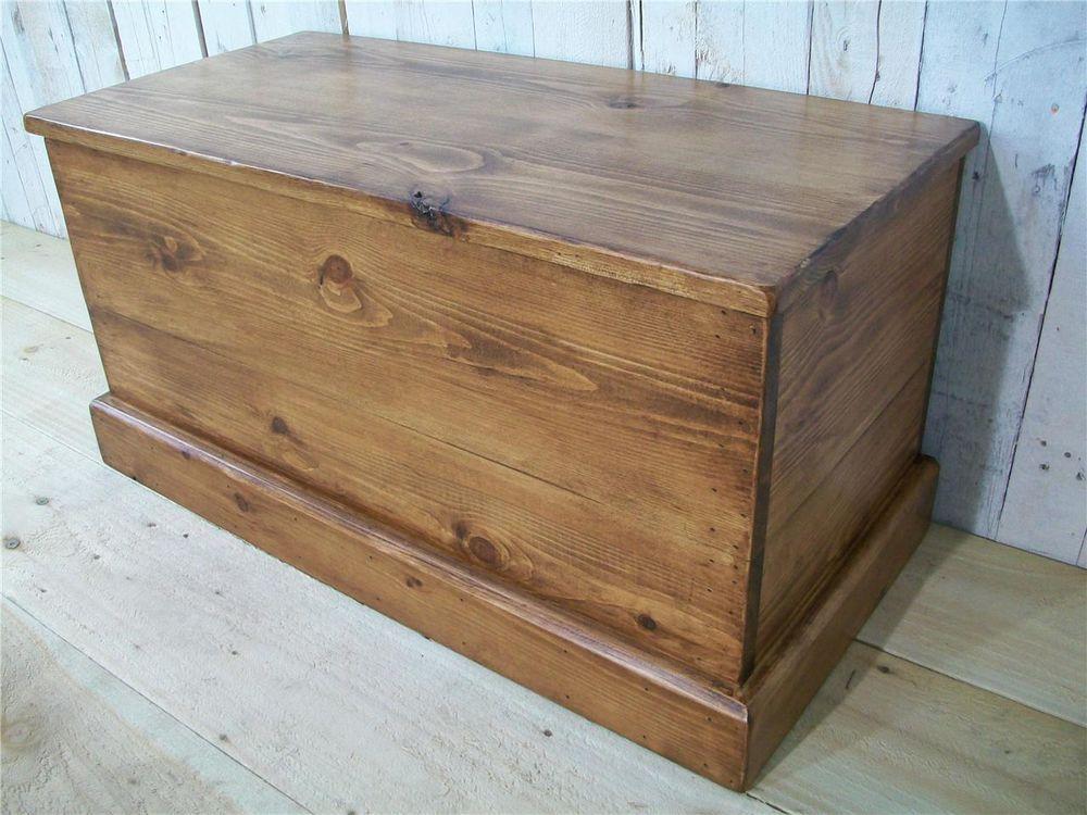 British Made Rustic Pine Blanket Box Storage Chest Toy Box