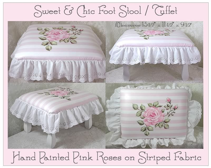 Shabby Cottage Footstool/Tuffet w/HP Pink Roses